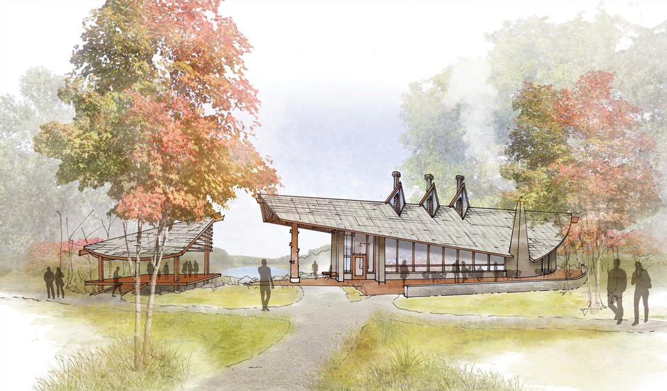 Drawing of a building in a forested area with reddish trees, a trail for walking, and lake in the background